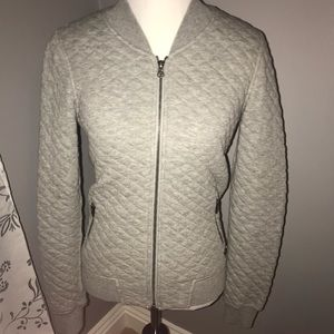 Gray Quilted Bomber Jacket